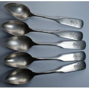 Zestaw 5 sztuk łyżeczek 1889 - srebro 84 - grawerowane