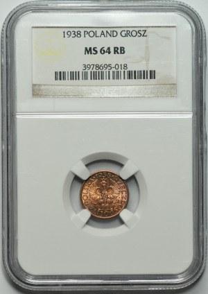 II RP - 1 grosz 1938 - NGC MS64 RB