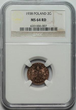 II RP - 2 grosze 1938 - NGC MS64 RD