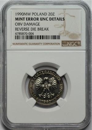 DESTRUKT - 20 złotych 1990 - NGC MINT ERROR