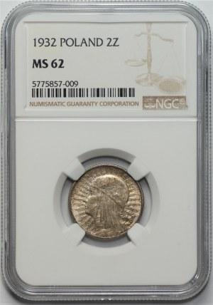 II RP - 2 złote 1932 - Głowa kobiety - NGC MS62