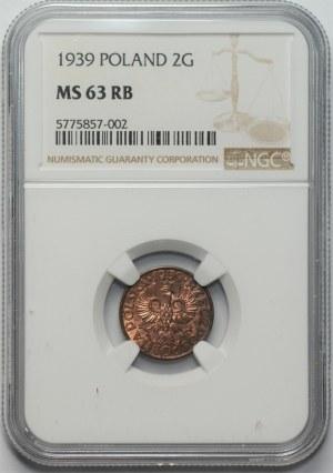 II RP - 2 grosze 1939 - NGC MS 63RB
