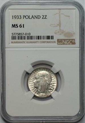 II RP - 2 złote 1933 - Głowa kobiety - NGC MS61