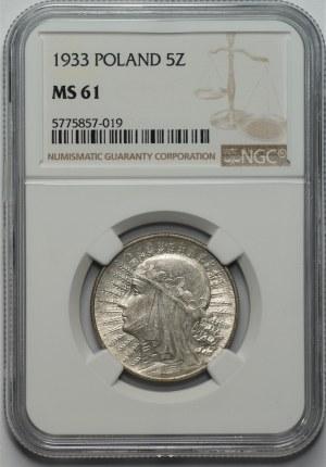 II RP - 5 złotych 1933 - Głowa kobiety - NGC MS61