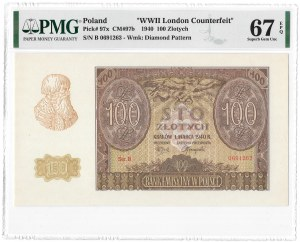 100 złotych 1940 - B - falsyfikat ZWZ - PMG 67 EPQ