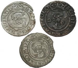 Zygmunt III Waza (1587-1632) - zestaw 3 sztuk szelągów Wilno, Bydgoszcz