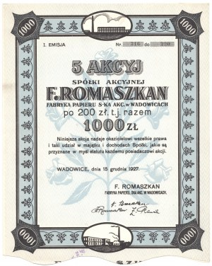 F. Romaszkan Fabryka Papieru Spółka Akcyjna w Wadowicach - Em.1, - 5 x 200 złotych 1927