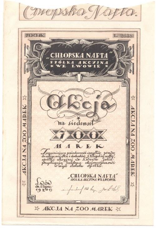 Chłopska Nafta - Spółka Akcyjna we Lwowie - 700 marek 1920 - NIENOTOWANA