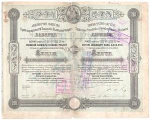 Towarzystwo Akcyjne Zakładów Przędzalnia Bawełny Tkalni i Blecharni ZAWIERCIE - Em.2, 250 rubli 1879 - RZADKOŚĆ