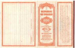 8% zewnętrzna pożyczka amortyzacyjna - 500 dolarów 1925 - przestemplowana na 525 dolarów - RZADKOŚĆ