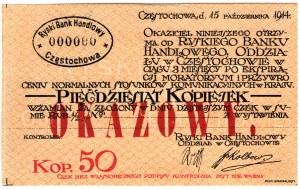 Częstochowa - Ryski Bank Handlowy - 50 kopiejek 1914 - OKAZOWY (WZÓR)