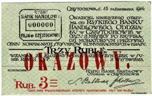 Częstochowa - Ryski Bank Handlowy - 3 ruble 1914 - OKAZOWY (WZÓR)