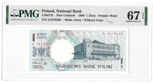 Miasta Polskie - Gdynia - 1 złoty 1990 - A - PMG 67 EPQ