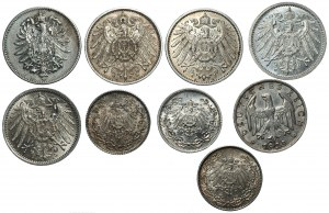 NIEMCY - zestaw 9 srebrnych monet, 1 marka, 1/2 marki, 1 reichsmark (1875-1925)