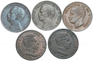 Zestaw monet Hiszpania, Włochy 1906-1918