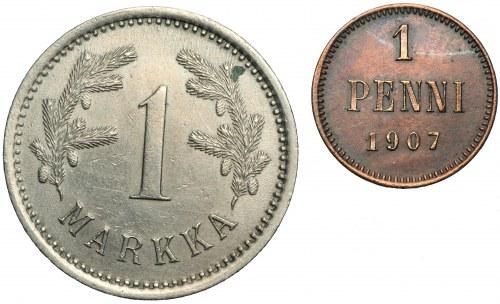FINLANDIA - zestaw 1 markka 1921, 1 penni 1907