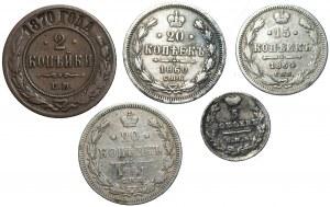 ROSJA - zestaw kopiejek 1823 - 1870, miedź oraz srebro