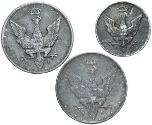 Królestwo Polskie - zestaw 3 monet 5 i 20 fenigów 1917
