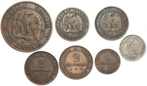 FRANCJA - zestaw 7 sztuk monet 1861-1882
