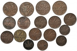 II RP - zestaw 17 sztuk 1, 2 i 5 groszy (1923-1938)