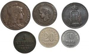 ŚWIAT - zestaw 6 sztuk monet - Francja, Szwecja, Austria, Czarnogóra, Estonia (1851-1935)