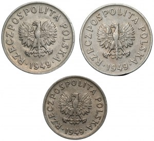 PRL - zestaw 3 monet 10 i 20 groszy 1949 - miedzionikel