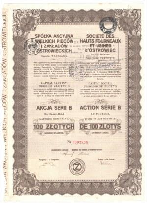 Spółka Akcyjna Wielkich Pieców i Zakładów Ostrowieckich - 100 złotych