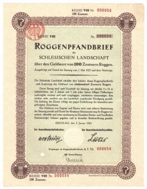 BRESLAU/WROCŁAW - 100 zentner 1924 - niski numer 000054