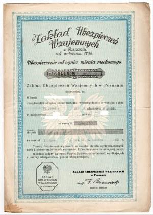 Zakład Ubezpieczeń Wzajemnych w Poznaniu - Polisa od ognia i mienia ruchomego 1938