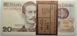 Paczka Bankowa - 20 złotych 1982 seria AM - 100 sztuk z banderolą