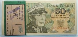 Paczka Bankowa - 50 złotych 1988 seria HE - 100 sztuk z banderolą