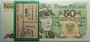 Paczka Bankowa - 50 złotych 1988 seria KB - 100 sztuk z banderolą