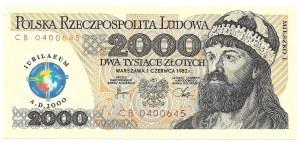 2000 złotych 1982 - seria CB z nadrukiem PTN Konin