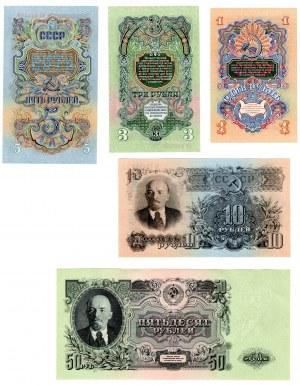ROSJA - zestaw banknotów 1,3,5,10,50 rubli 1947