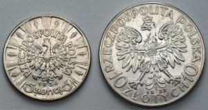 II RP - 5 złotych 1934 Piłsudski + 10 złotych 1932 Polonia