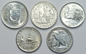 ŚWIAT - zestaw 5 srebrnych monet - Szwajcaria, Czechosłowacja, Włochy, USA
