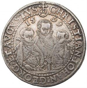 NIEMCY - Saksonia, Krystian II, Jan Jerzy I i August - 1 talar 1599 HB Drezno