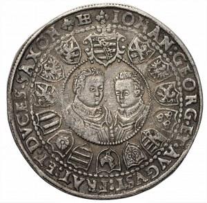NIEMCY Saksonia, Krystian II, Jan Jerzy I i August - Talar 1604 - HB, Drezno