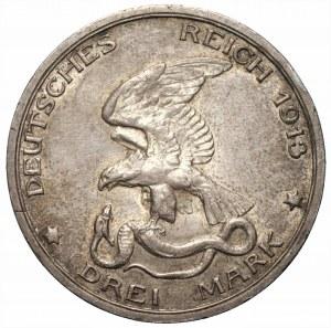 NIEMCY - Prusy - Wilhelm II - 3 marki 1913 - 100-lecie Bitwy Narodów (Bitwy pod Lipskiem)