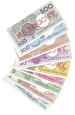 MIASTA POLSKIE - kompletny zestaw - 1, 2, 5, 10, 20, 50, 100, 200, 500 złotych emisji 1 marca 1990 - NIEOBIEGOWY