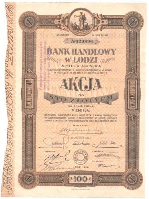 Bank Handlowy w Łodzi - V Emisja - 100 złotych 1929