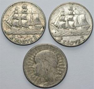 II RP - 8 monet - Piłsudski 3 x 5 złotych (1934-1936) + 2 x 10 złotych 1935 oraz 2 x 2 złote 1936 Żaglowiec + 2 złote 1933 Polonia