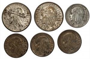 II RP - 5 i 10 złotych (1932-1934) Głowa Kobiety - 6 sztuk