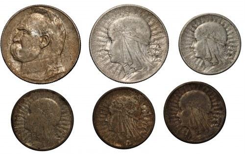II RP - 5 zlotych 1936 Piłsudski + 2 i 5 złotych (1932-1934) Głowa Kobiety - zestaw 6 sztuk monet