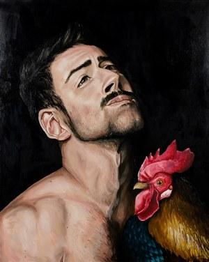 Szymon Kurpiewski, Man and the rooster, 2019