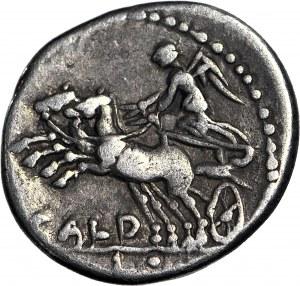 Republika Rzymska, Denar C. Coelius Caldus 104 r. p.n.e., rzadszy typ z Wiktorią w bidze w lewo