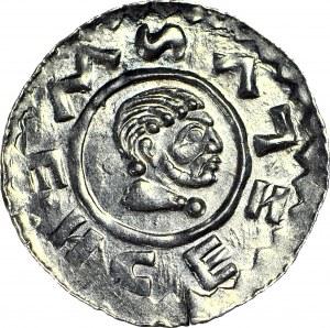 Czechy, Wratysław II 1061–1092, Denar, Głowa króla/ Dłoń z berłem