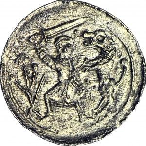 R-, W. II Wygnaniec 1138-1146, Denar Kraków, Walka z lwem, ozdobny tron władcy