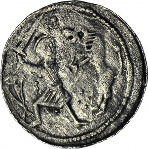 Władysław II Wygnaniec 1138-1146, Denar, błąd LIDSLAS, Walka z lwem/ Książę i giermek