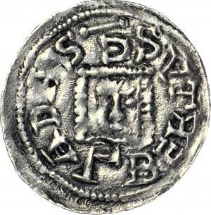 RRR-, Bolesław IV Kędzierzawy, Denar, Relikwiarz, S.ADALBERTAS.G, nad księciem MIECZ, napis W CZTERECH WIERSZACH - BO--EZLA--AL--VA